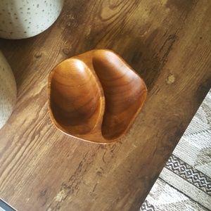 Genuine Monkey Pod Vintage 2-Bowl Wooden Tray